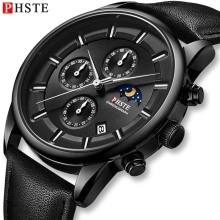 PHSTE New Men Watch Chronograph Moon Phase Date Quartz Wristwatch Waterproof Calfskin Leather Strap Male Clock Relogio Masculino new reef tiger designer sport watches men chronograph date calfskin nylon strap super luminous quartz watch relogio masculino