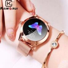 Bluetooth cмарт часы женщин Ip68 шагомер пульсометр умный фитнес браслет водонепроницаемые умные часы из нержавеющей стали для Android IOS смарт браслет