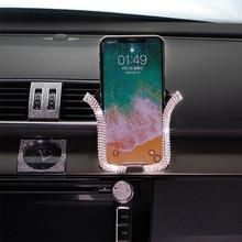Универсальный автомобильный держатель для телефона с Bing Кристалл Стразы держатель на вентиляционное отверстие автомобиля клип держатель сотового телефона для iPhone samsung автомобильный держатель