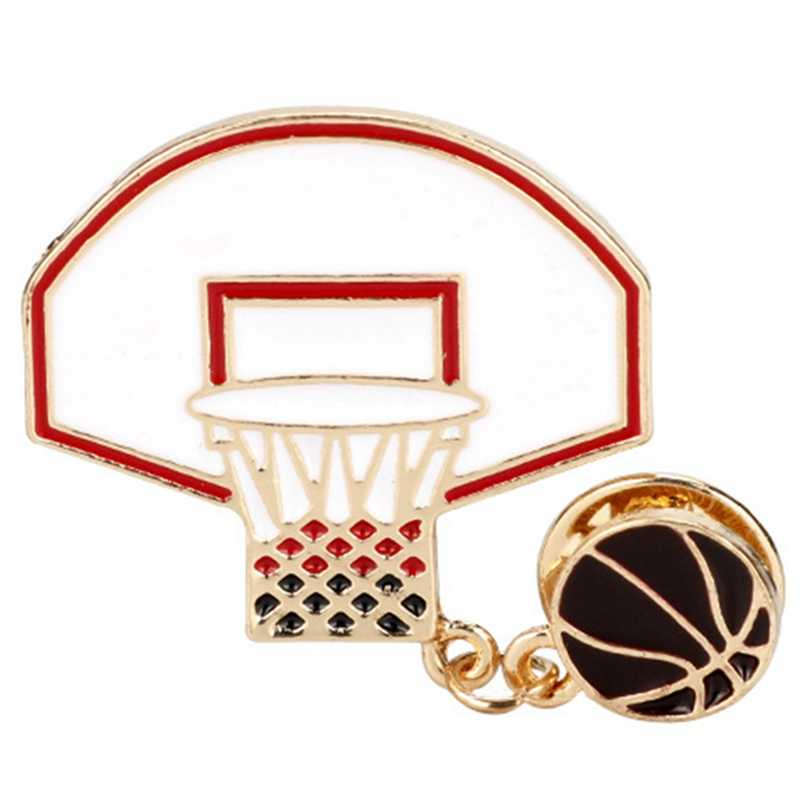 Basketball Hoop With Basketball Pins Brooches Red Enamel Sports Pin Lapel Pin Badge Sportsman Button Brooch Party Pin