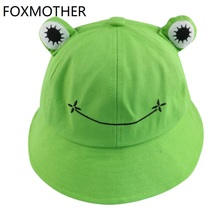 FOXMOTHER New Cute Green Black Frog Print Fisherman Panama Cap Bob Chapeau Summer Cartoon Bucket Hat For Women Ladies