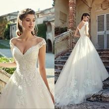 Custom Gorgeous Off Shoulder Lace Wedding Dresses 2020 V Neck Applique Sweep Train Bridal Gowns Vestido De Novia