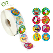 500pcs/roll cute animals Reward Stickers for Teachers students for Kids in 8 Designs Training Stickers Motivational Stickers YJN