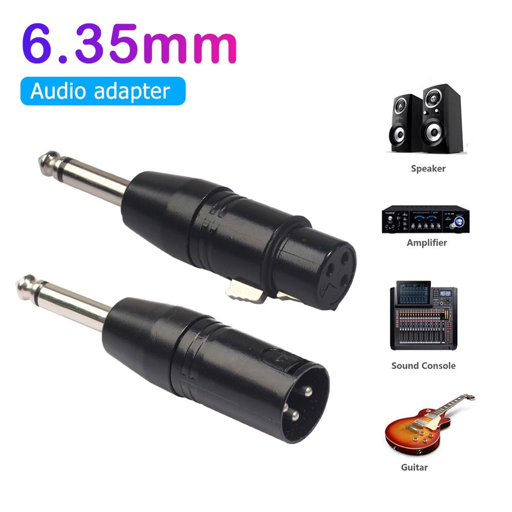 6.35mm Mono Male To XLR 3Pin Female/Male Audio Plug Converter Adapter Connector For Headphone Microphone Power Amplifier