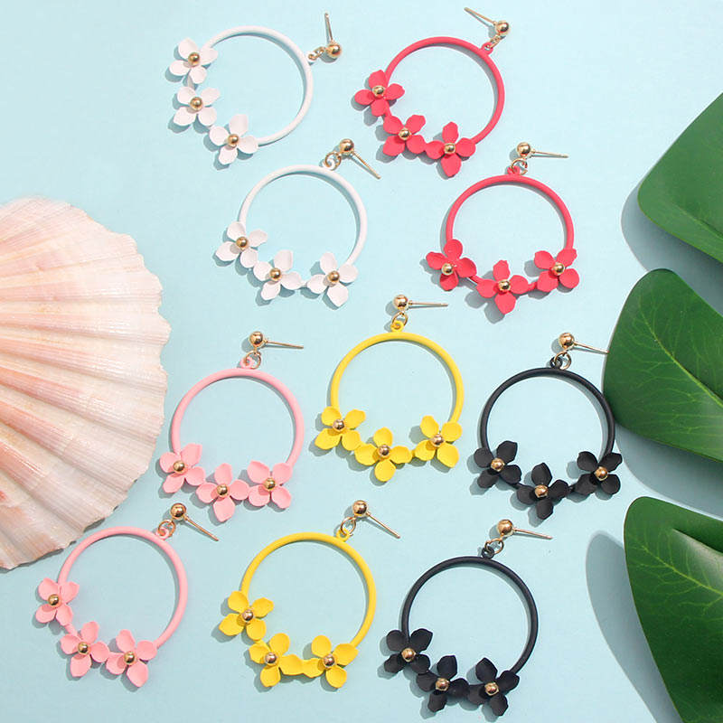 Flatfoosie <font><b>Trendy</b></font> <font><b>Cute</b></font> <font><b>Pink</b></font> <font><b>Flower</b></font> Drop <font><b>Earrings</b></font> <font><b>For</b></font> <font><b>Women</b></font> Girls Jewelry Female Metal Round Circle <font><b>Earrings</b></font> 2019 Gifts Brincos image