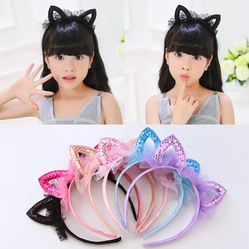 Girls Mesh Lace Cat Ear Hairbands Cute Simple Solid Ribbon Bow Children's Day Hair Bands For Women Headwear Girls Accessory image