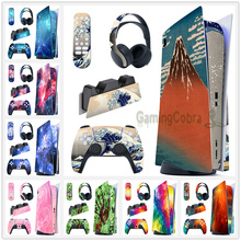 Full Set Skin Decal Regular Edition Sticker Vinyl Decal Cover for PS5 Controller & Charging Station & Headset & Media Remote