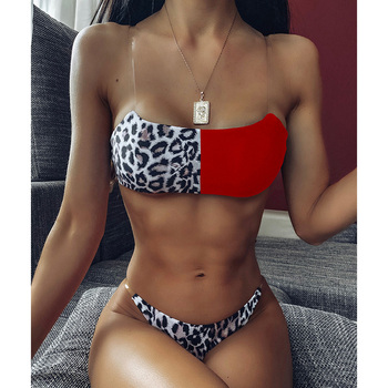 Sexy Leopard Brazilian Bikinis Set Swimsuit Female Thong Bikini 2020 Push Up Swimwear Women Bandeau Patchwork Swim Bathing Suit 1