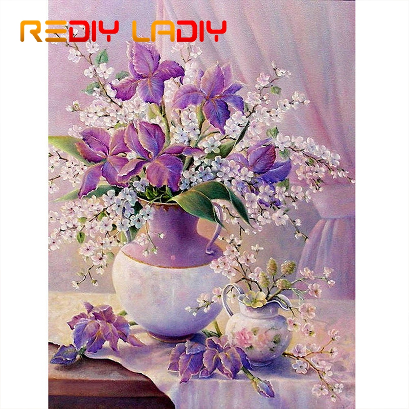DIY Beaded Embroidery Still Life With Flowers Needlework High Quality Beads Partial Crystal Beaded Cross Stitch Hobby & Crafts