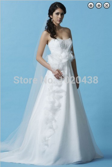 Free Shipping 2015 New Fashion Hot Vestidos White Long Bridal Formal Gowns Handmade Custom A-line Wedding Dresses With Flowers