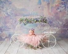 Dvotinst accessoires de photographie pour nouveau nés, princesse cendrillon en fer, chariot, pose de citrouille voiture