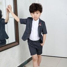 цена на Summer 2pcs/set Boys Blazer Suits Set (suit+pant) Kid Boy Wedding Party Suits Blazer Costume Garcon Formal School Short Suits