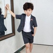 Summer 2pcs/set Boys Blazer Suits Set (suit+pant) Kid Boy Wedding Party Costume Garcon Formal School Short