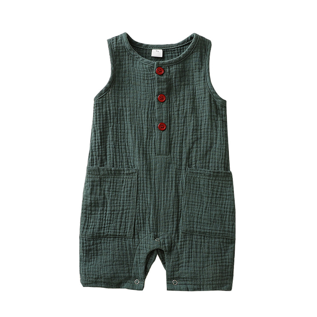 Summer Baby Boys Girls Romper Toddler Kids Playsuit Jumpsuits Cotton Linen Muslin Infant Romper Sleeveless Baby Clothing