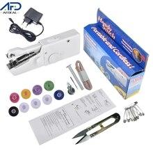 US/EU Plug Mini Electric Sewing Machine Portable Handheld Sewing Machine Stitch Set Needlework Household Sewing Tool for Fabric