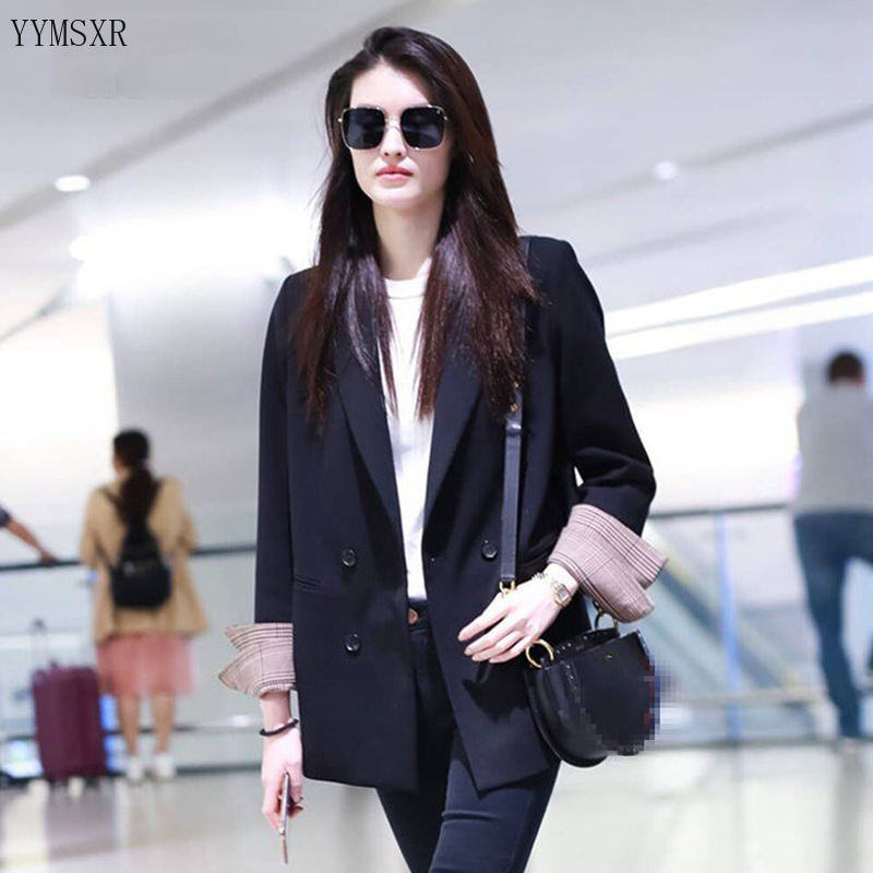 2020 new spring and autumn women's jackets feminine Casual Loose Double Breasted Black Lady Blazer Small Suit Female coat