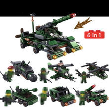 цена 6 In 1 Military Battle Tank Diy Armored Vehicle Assembly Building Blocks Fighter Plane Truck Car Toy Bricks For Children Gift онлайн в 2017 году