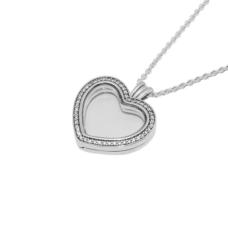 Clair CZ cristal coeur médaillon pendentif Collier amour déclaration colliers pour les femmes 925 en argent Sterling chaîne colliers bijoux bricolage - 4