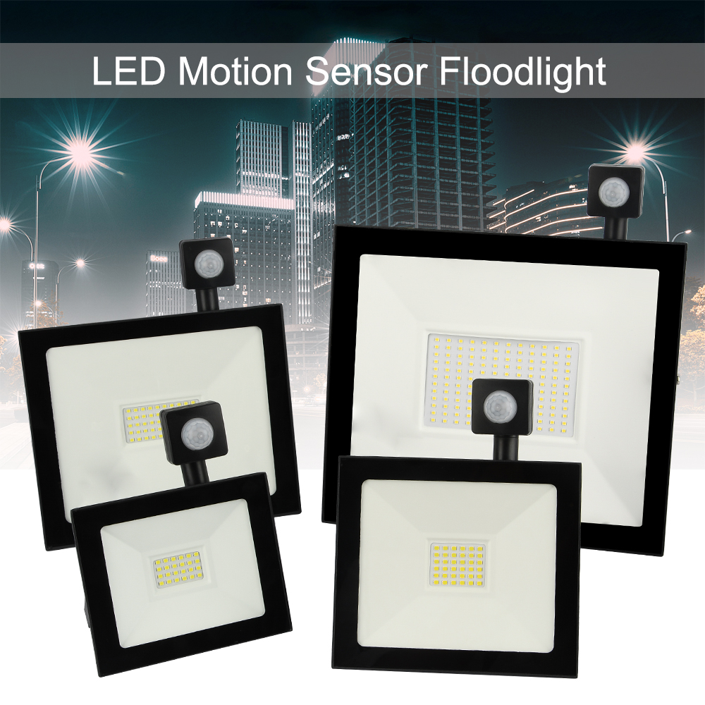 Işıklar ve Aydınlatma'ten Işıldaklar'de LED Hareket Sensörü Projektör Su Geçirmez 20W 30W 50W 100W PIR Sel ışık projektör Lambası Dış Açık Spot aydınlatma title=