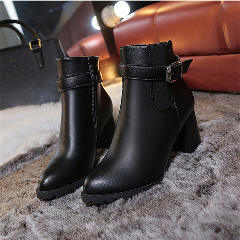 Women Ankle Boots Winter Suede High Heels Boots Ladies Fashion Pointed toe Gladiator Black Leather Shoes For Woman Plus Size 42