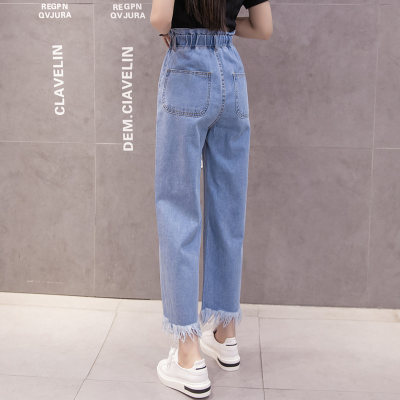 Spring And Autumn New Style Tassels Raw-cut Ankle-length Wide-Leg Jeans Women's Korean-style Loose-Fit Slimming Versatile CHIC P