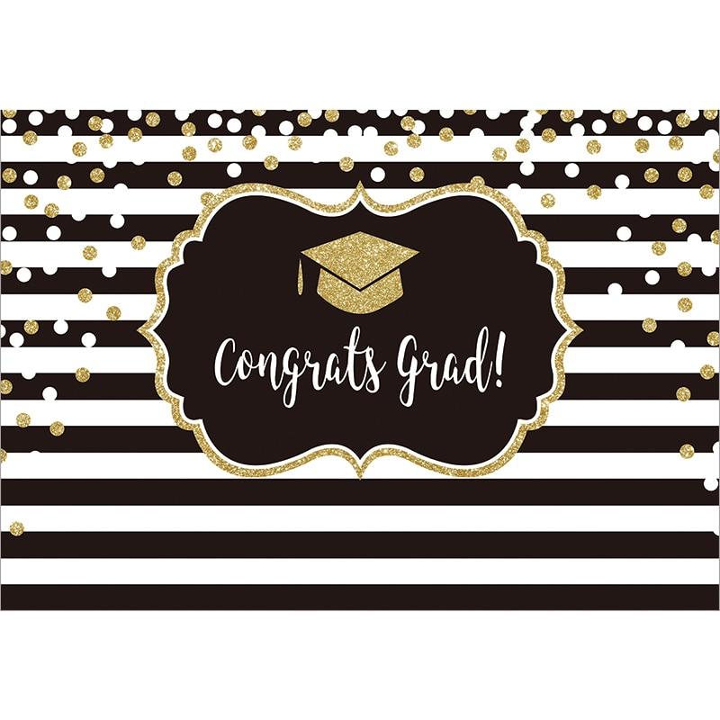 Allenjoy Graduation Wallpaper Black And White Stripes Bachelor Cap Party Banner Golden Dots Sunflowers Classroom Celebrate Decor Party Backdrops Aliexpress