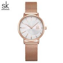 Shengke Uhr Frauen Casual Mode Quarz Armbanduhren Kristall Design Damen Geschenk Relogio Feminino Mesh Band Zegarek Damski 2020