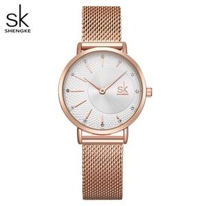 Image 1 - Shengke Watch Women Casual Fashion Quartz Wristwatches Crystal Design Ladies Gift Relogio Feminino Mesh Band Zegarek Damski 2020