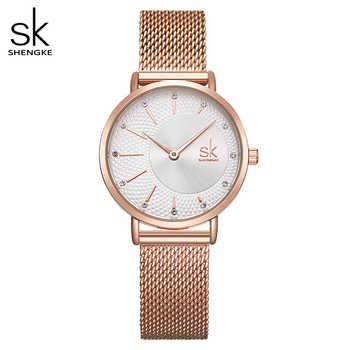 Shengke Watch Women Casual Fashion Quartz Wristwatches Crystal Design Ladies Gift Relogio Feminino Mesh Band Zegarek Damski 2019 - DISCOUNT ITEM  50% OFF All Category