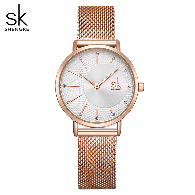 Shengke שעון נשים מקרית אופנה קוורץ שעוני יד קריסטל עיצוב גבירותיי מתנות Relogio Feminino רשת להקת Zegarek Damski 2020