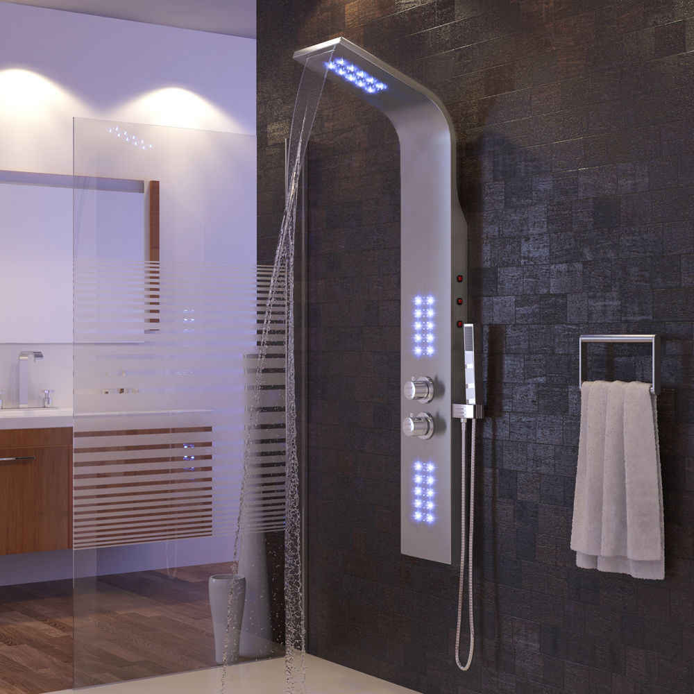 Kamar Mandi Smart Shower Layar Stainless Steel Multi-Fungsi Lampu LED Shower Set Ungu Cahaya Hwc