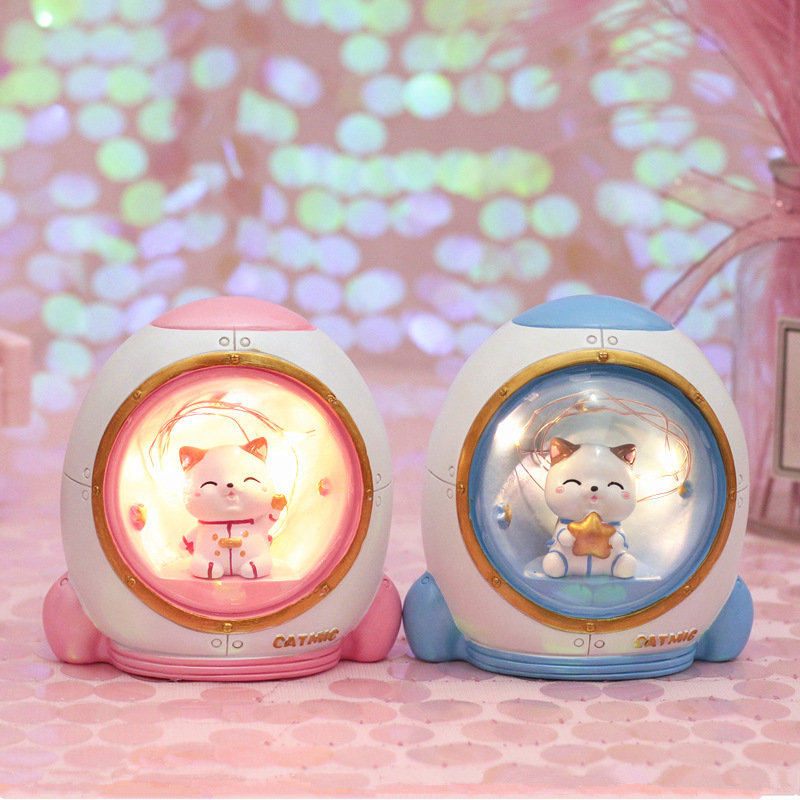 Cute Resin LED Cat Night Light Baby Nursery Animal Rocket Star Twinkle Decoration LIghts Christmas Birthday Gift Toys For Kids