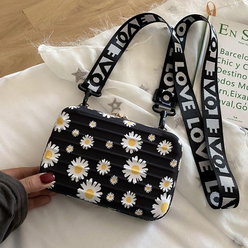 Женская сумка, новая крутая коробка, мини сумка в западном стиле, широкополосная, модная, универсальная сумка через плечо/сумка через плечо, сумка ромашка|Сумки с ручками|   | АлиЭкспресс