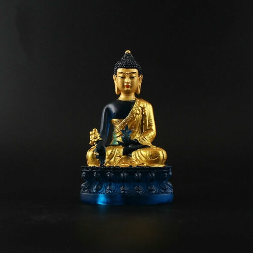 Tibetan Buddhism Hand Painting Resin Gilt Statue Medicine Buddha Statue