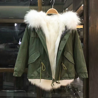 Army green Children Coat Pure White Fox Fur Lining Parka Touch Smooth Real Raccoon Fur Collar Can Around The Neck Warm In Winter