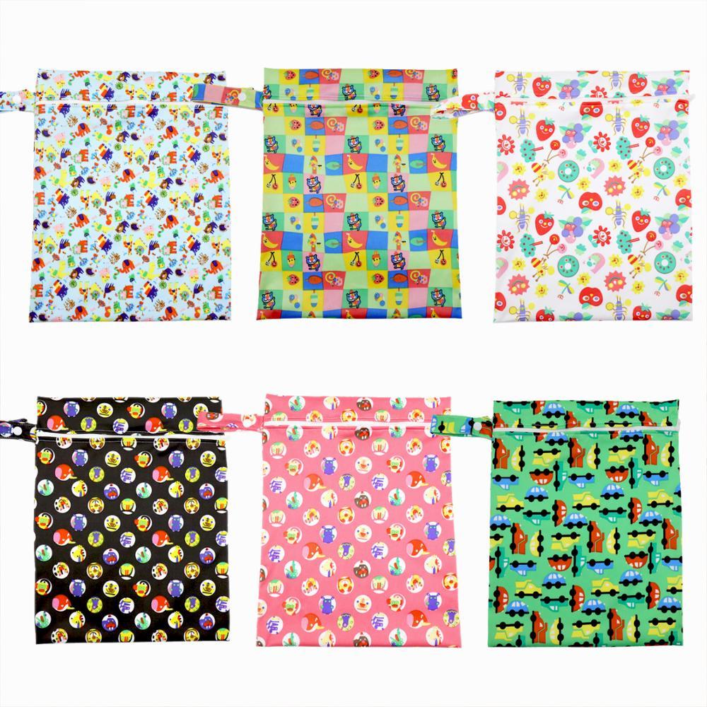 Baby Wet Bag Waterproof Reusable Wet Bag Printed Pocket Nappy Bags Travel Wet Dry Bags Mini Size 28x35cm Diaper Bag