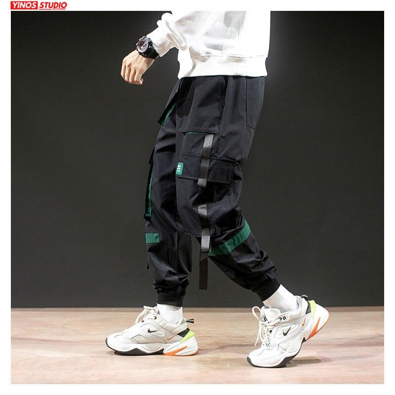 Dropshipping Mens Japanese Patchwork Pocket Overalls Pants Autumn Men Streetwear Causal Pants Male Cargo Harem Pants 3XL