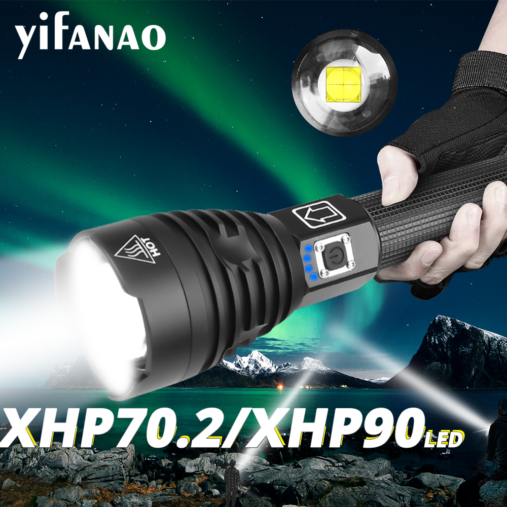 18000LM Flashlight LED XHP90 XHP70.2 Zoom Torch Camping Lamp 18650 26650 Most Powerful USB Rechargeable Tactical Light XHP50