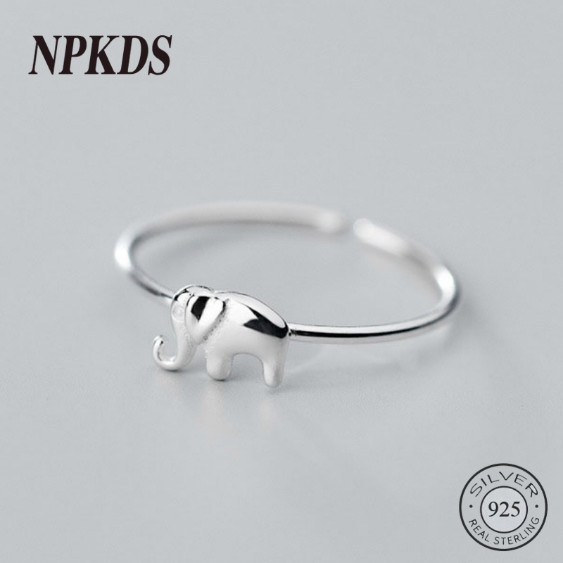 Sterling 925 Silver Small Elephant Thin Rings Korea Minimalist Trendy Animal Rings For Women Silver 925 Girls Fine Jewelry Gifts