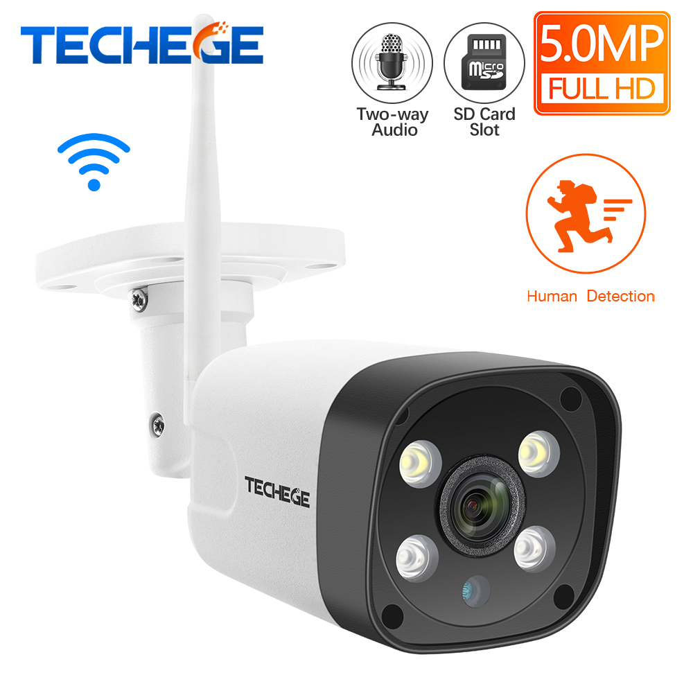 Techege Super HD 5MP H.265 WiFi Wired IP Camera AI Camera Human Detection Two Way Audio Waterproof IP Camera Free Power Adapter