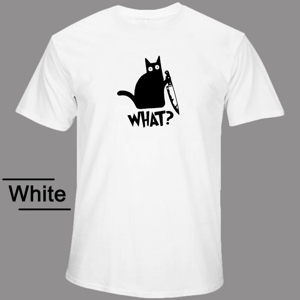 Funny T-shirts Knife Novelty What Cat Man T-shirt Casual Streetwear Short Sleeve O-neck Fashion Mens Tee Homme Summer Shirt Men