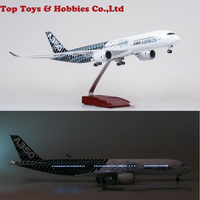 1/142 Scale Civil Aviation Airforce A350 47cm Carbon Fiber Painting Airplane with LED Aircraft Model Toy Plane Airforce Model