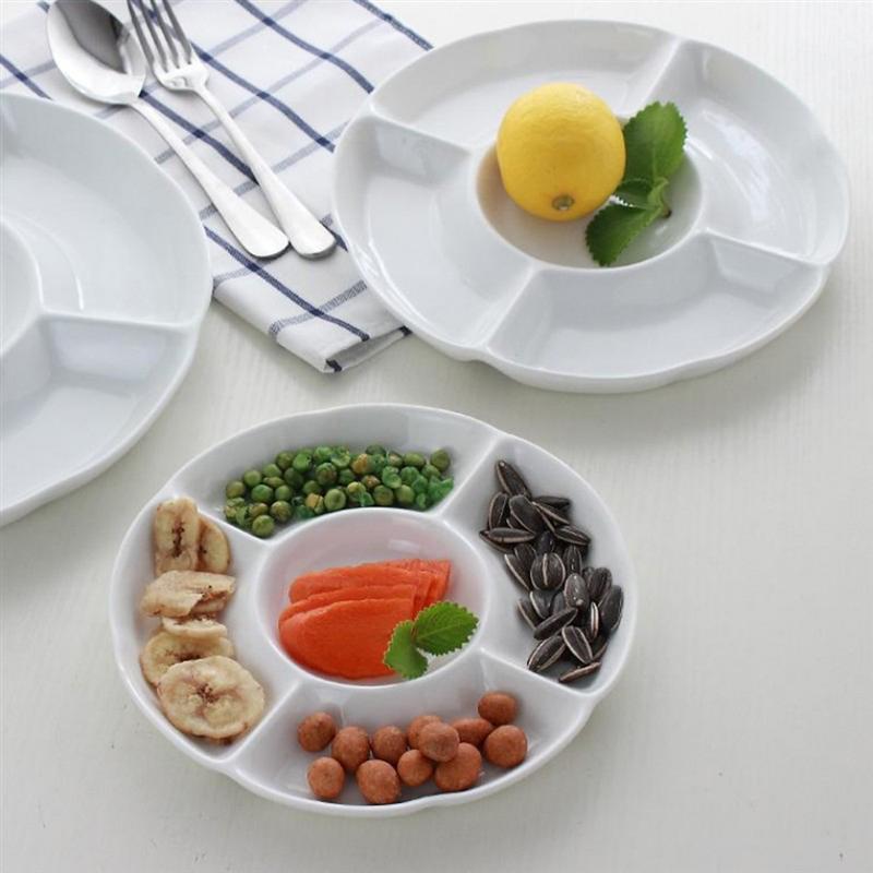 9-дюймовый 5-секционный Меламиновый поддон для хранения продуктов, сухофрукты, закуска, Сервировочная тарелка для конфет, кондитерских орехов-1