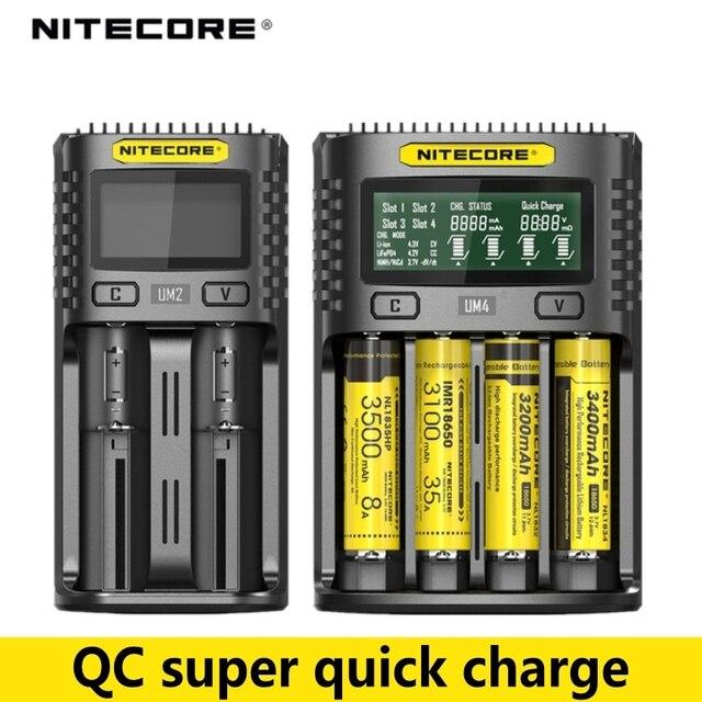 NITECORE UMS2 UMS4 UM2 UM4 SC4 inteligentny kontroli jakości ładowarka do 18650 16340 21700 20700 22650 26500 18350 aa ładowarka do baterii aaa
