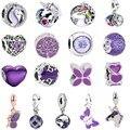 RanQin Новый Лошадь поезд бабочка дом дерево серия фиолетового цвета подходят оригинальные браслеты Pandora шармы DIY модные ювелирные изделия