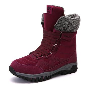 ZETMTC Winter Boots Women Warm Snow Boots Waterproof Warm Shoes Female Mid-Calf Platform Boots Plus Size Combat Boots Women tanie i dobre opinie Krowa Zamszu Połowy łydki Zwrócił-over krawędzi Stałe 1812-1 Kliny Buty śniegu Krótki pluszowe Mesh (air mesh) Okrągły nosek