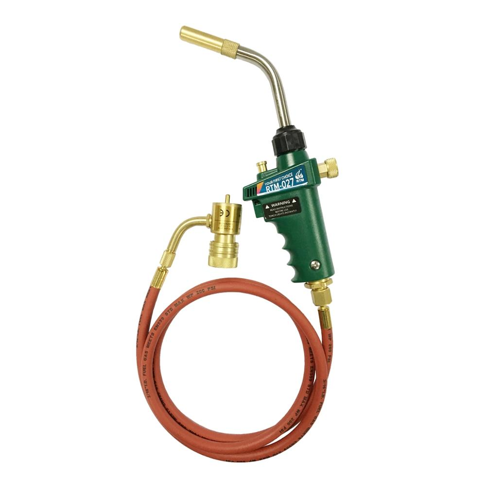 Braze Welding Torch Self Ignition Piezo Trigger CGA600 Heating Solder Burner 1 5meter hose MAPP Propane Gas Torch