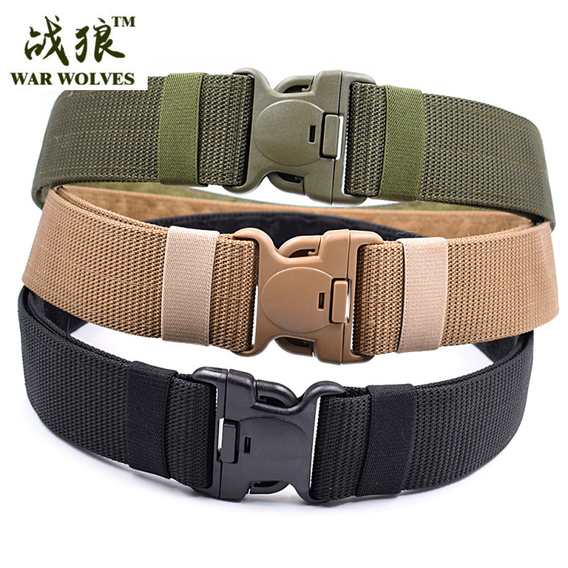 2020 Combat 2 Inch Canvas Duty Tactical Sport Belt With Plastic Buckle Army Military Adjustable Outdoor Fan Hook Loop Waistband