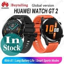 Version mondiale HUAWEI montre GT 2 SmartWatch Kirin A1 Bluetooth 5.1 oxygène du sang fréquence cardiaque sommeil batterie pour Android iOS
