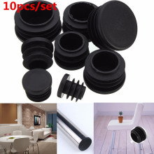Hot-Selling 10Pcs Black PVC Plastic Furniture Leg Plug Blanking End Cap Bung For Round Pipe Tube